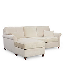 "Lidia 82"" Fabric 2-Pc. Reversible Chaise Sectional Sofa with Storage Ottoman, Created for Macy's"