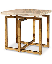 Corinne Stainless Steel End Table, Quick Ship
