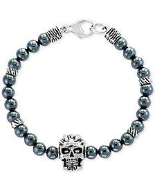 EFFY® Men's Hematite (6mm) Beaded Skull Bracelet in Sterling Silver