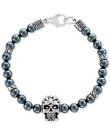 EFFY® Men's Hematite (6mm) Beaded Skull Bracelet in Sterling Silver