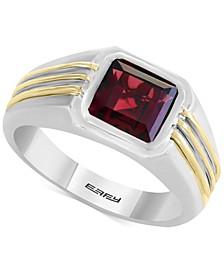 EFFY® Men's Rhodalite Garnet Two-Tone Ring (3 ct. t.w.) in Sterling Silver & 14k Gold