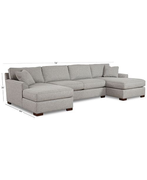 Furniture Carena 3-Pc. Fabric Sectional Sofa With Double