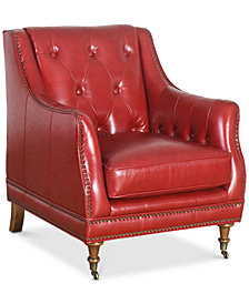 Garnell Top Grain Waxed Leather Chair, Quick Ship