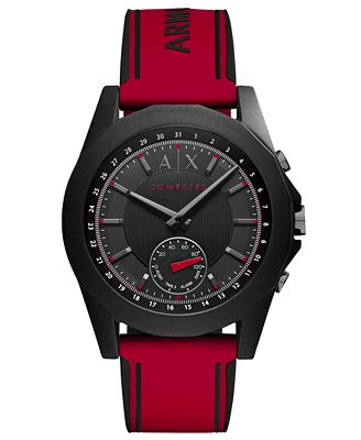 A|X Armani Exchange Men's Connected Red Silicone Strap Hybrid Smart Watch 44mm