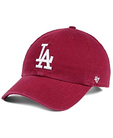 '47 Brand Los Angeles Dodgers Cardinal and White CLEAN UP Cap