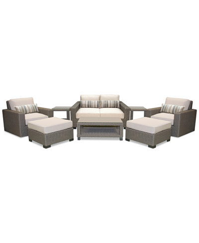 Del Mar 8-Pc. Set (1 Loveseat, 2 Swivel Chairs, 2 Ottoman, 1 Coffee Table & 2 End Tables), Created for Macy's