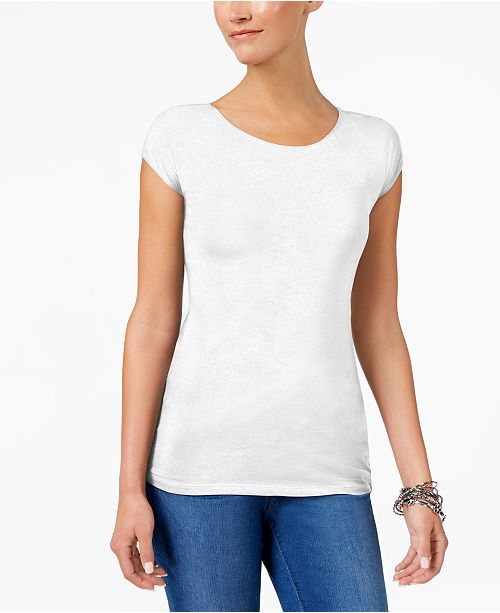 24b48915 Style & Co Scoop-Neck T-Shirt, Created for Macy's & Reviews - Tops ...