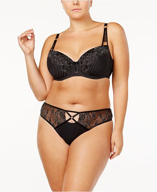 17023fde6ccfa ... Ashley Graham Lingerie Showstopper Plus Size Lace Bra   Thong ...