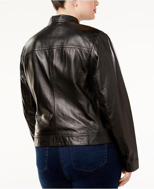 8cf84a73e4d Michael Kors Plus Size Leather Moto Jacket   Reviews - Jackets ...