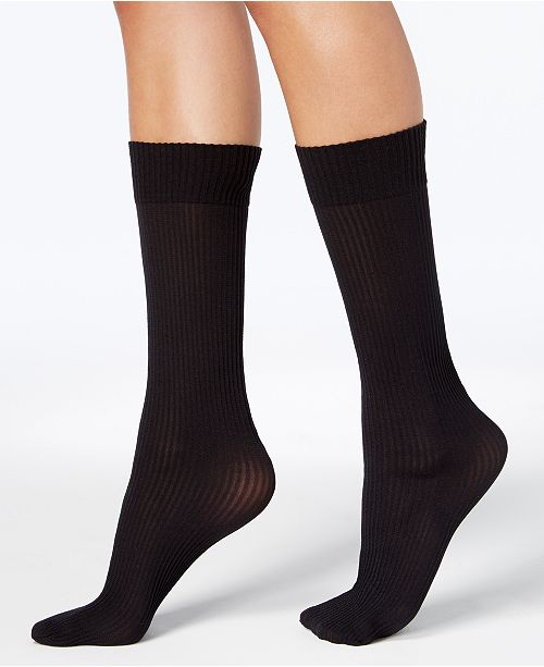 DKNY Women's 2 Pack Ribbed Opaque Knee-High Socks