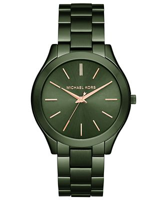 Michael Kors Unisex Slim Runway Olive Stainless Steel Bracelet Watch 42mm