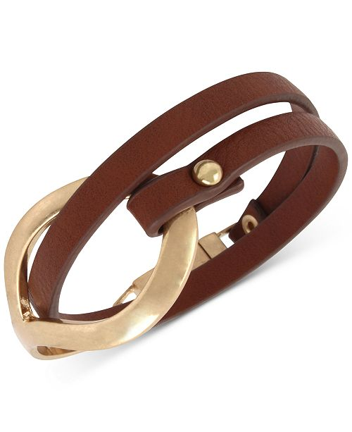 Kenneth Cole Sculptural Brown Leather Double Wrap Bracelet