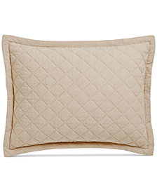 CLOSEOUT! Martha Stewart Collection Linen-Cotton Broadstitch Diamonds Quilted Standard Sham, Created for Macy's, Tan