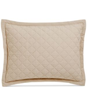 Martha Stewart Collection Linen-Cotton Broadstitch Diamonds Quilted Standard Sham, Created for Macy's, Tan 7122639
