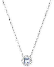 Swarovski Silver-Tone Square Crystal Halo Pendant Necklace