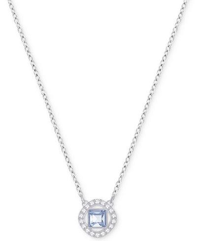 Swarovski Silver-Tone Square Crystal Halo Pendant Necklace