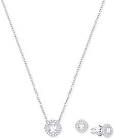 Swarovski Silver-Tone Crystal Pendant Necklace & Stud Earrings Set