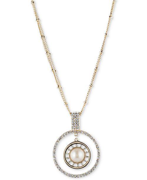Carolee Gold-Tone Imitation Pearl & Pavé Circle Pendant Necklace