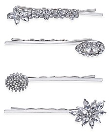 INC Silver-Tone 4-Pc. Set Crystal Pavé  Hair Pins, Created for Macy's