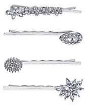 INC International Concepts Silver-Tone 4-Pc. Set Crystal Pavé Hair Pins, Created for Macy's