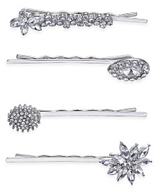 I.N.C. Silver-Tone 4-Pc. Set Crystal Pavé  Hair Pins, Created for Macy's