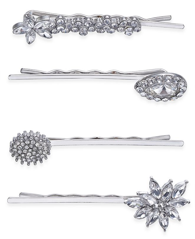 INC International Concepts INC Silver-Tone 4-Pc. Set Crystal Pavé  Hair Pins, Created for Macy's