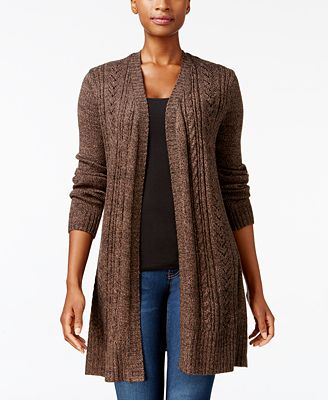 Karen Scott Cable-Knit Duster Cardigan, Created for Macy's ...
