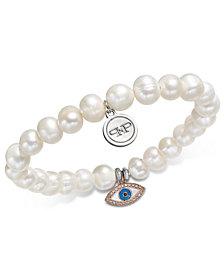 Paul & Pitü Naturally Two-Tone Pavé Eye & Freshwater Pearl Stretch Bracelet