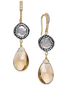 Paul & Pitü Naturally Two-Tone Multi-Stone & Imitation Pearl Drop Earrings