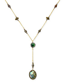 Paul & Pitü Naturally Gold-Tone Abalone Shell Y-Necklace