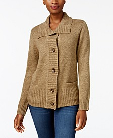 Petite Button-Front Marled Cardigan Sweater, Created For Macy's