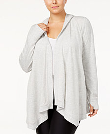 Ideology Plus Size Hooded Open-Front Wrap, Created for Macy's