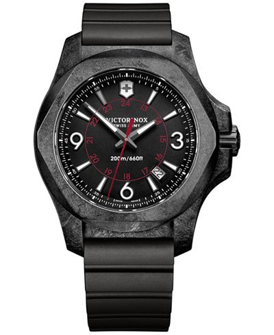 Victorinox Swiss Army Men's INOX Carbon Black Rubber Strap Watch 43mm