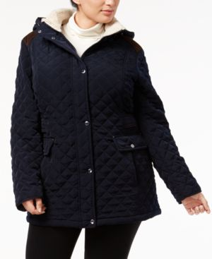 Laundry by Shelli Segal Plus Size Fleece-Trim Quilted Coat 4780890