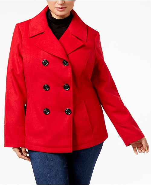 5f649c27329a Celebrity Pink Trendy Plus Size Double-Breasted Peacoat   Reviews ...