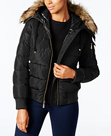 MICHAEL Michael Kors Petite Faux-Fur-Trim Hooded Bomber Coat