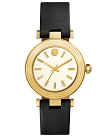 Tory Burch Women's Classic T Black Leather Strap Watch 36mm