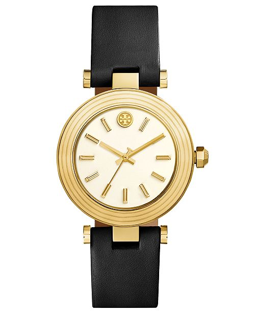 fb32ec397 ... Tory Burch Women's Classic T Black Leather Strap Watch 36mm ...