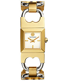 Tory Burch Women's Double T Link Two-Tone Stainless Steel Bracelet Watch 18x18mm