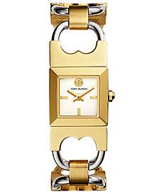 Tory Burch Women's Double T Link Two-Tone Stainless Steel Bracelet Watch 18x18mm