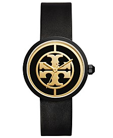 Tory Burch Womens Reva Black Leather Strap Watch TBW4024