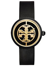 Tory Burch Womens Reva Black Leather Strap Watch TBW4024