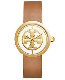 9a0f9e95aa1 Tory Burch Women s Reva Light Brown Leather Strap Watch 36mm