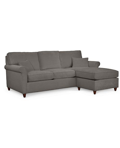 Lidia 82 Fabric 2 Pc Chaise Sectional Queen Sleeper Sofa With Storage Ottoman Created For Macy S