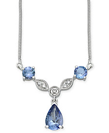 Tanzanite (2-1/2 ct. t.w.) & Diamond (1/10 ct. t.w.) Pendant Necklace in 14k White Gold