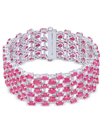 Certified Ruby (52-1/3 ct. t.w.) & White Sapphire (5/8 ct. t.w.) Wide Bracelet in Sterling Silver