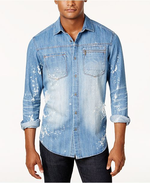 3cdf8b8c2a Sean John Men s Big   Tall 3D Washed Denim Shirt   Reviews - Casual ...
