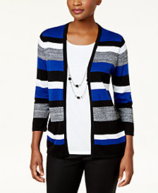 Alfred Dunner High Roller Petite Layered-Look Necklace Sweater