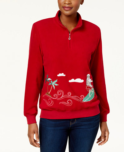 Alfred Dunner Petite Surfing Santa Knit Top