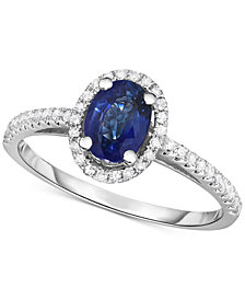 Sapphire (3/4 ct. t.w.) & Diamond (1/6 ct. t.w.) Halo Ring in 14k White Gold